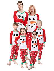 cheap -Family Look Graphic Print Long Sleeve Regular Regular Clothing Set Red