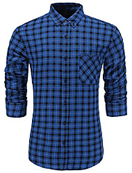cheap -men's 100% cotton slim fit long sleeve plaid button-down checked dress shirt xl yellow black