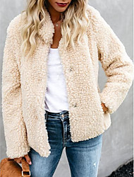 cheap -Women's Teddy Coat Holiday Fall & Winter Regular Coat Shirt Collar Loose Streetwear Jacket Long Sleeve Solid Colored Patchwork Beige / Going out