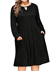 cheap -Women's A-Line Dress Knee Length Dress - Long Sleeve Solid Color Patchwork Fall Plus Size Elegant Casual 2020 Black Wine Royal Blue XL XXL 3XL 4XL