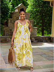 cheap -Women's Strap Dress Maxi long Dress - Sleeveless Floral Backless Summer Plus Size Sexy 2020 Yellow XL XXL 3XL 4XL 5XL