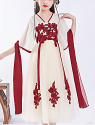 cheap -Kids Little Girls' Dress Floral Tribal Lace up Beige Midi Half Sleeve Chinoiserie Cute Dresses Children's Day Regular Fit