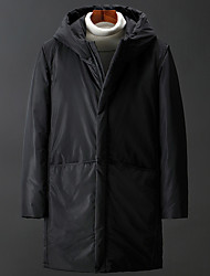 cheap -Men's Down Parka Solid Colored POLY Black / Gray M / L / XL