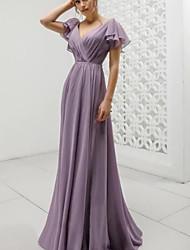 cheap -A-Line V Neck Floor Length Chiffon Bridesmaid Dress with Pleats