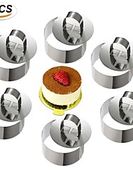 cheap -6pcs Round Dessert Mousse Cake Molds Stainless Steel Cake Rings Set Mold with Pusher Pancake Pastry Tool Cookie Cutter