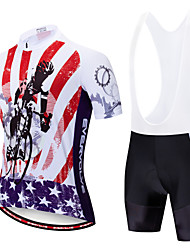 cheap -EVERVOLVE American / USA National Flag Men's Short Sleeve Cycling Jersey with Bib Shorts - White Black Bike Clothing Suit Breathable Quick Dry Anatomic Design Sports Polyster Lycra Mountain Bike MTB