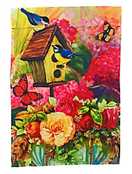 cheap -garden flag yard decoration; 12 inches by 18 inches; double sided (colorful flower vase with butterflies and birds)