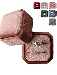 cheap -velvet ring box double slot vintage inspired - octagon square ring box - perfect for engagement bride wedding photography - bridal gift for mrs. (cinnamon rose)