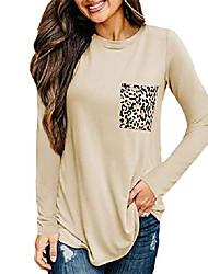 cheap -womens leopard print pocket shirt casual long sleeve basic tees cheetah animal print t-shirt blouse khaki