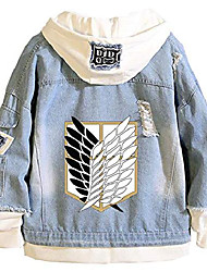 cheap -anime attack on titan shingeki no kyojin hoodie denim jacket adult cosplay sweatshirt button down jeans coat 3 xl