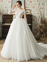 cheap -Ball Gown Wedding Dresses V Neck Chapel Train Tulle Long Sleeve Formal with Pleats Appliques 2021