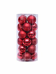 cheap -4cm/1.57in 24 pcs shaped christmas tree decorations christmas ball ornaments (silver green red white)
