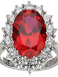 cheap -platinum-plated sterling silver created ruby with swarovski accent ring, size 7