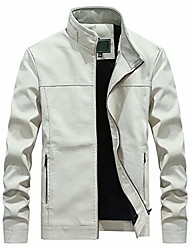 cheap -leather motorcycle jacket men,men's autumn fashion pure color stand collar imitation leather jacket coat white