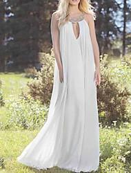 cheap -Sheath / Column Wedding Dresses Halter Neck Floor Length Chiffon Sleeveless Beach with Beading Appliques 2020