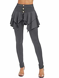cheap -skirted legging for women, pencil pants dress 2in1 solid irregular hem yoga trousers skorts leggings with skirts gray