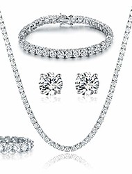 cheap -18k white gold plated tennis necklace/bracelet/earrings/band ring