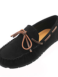 cheap -Women's Boat Shoes Flat Heel Round Toe Classic Daily PU Solid Colored Black Fuchsia Khaki