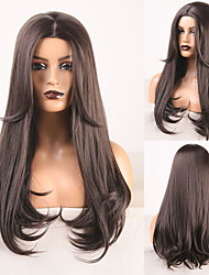 cheap -Cosplay Costume Wig Synthetic Wig Wavy Body Wave Middle Part Wig Long Dark Brown Synthetic Hair Women's Odor Free Fashionable Design Soft Dark Brown / Heat Resistant