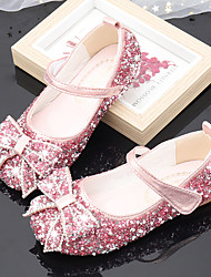 cheap -Girls' Flats Moccasin Flower Girl Shoes Princess Shoes Rubber PU Little Kids(4-7ys) Big Kids(7years +) Daily Party & Evening Walking Shoes Rhinestone Buckle Sequin Pink Silver Spring Fall / TR