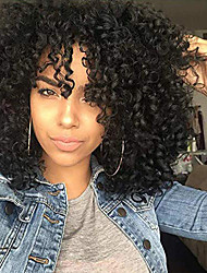 cheap -Synthetic African American Wigs Kinky Curly Hair Wig with Bangs Brown Blonde Mixed Wig Short Curly Wigs for Women Heat Resistant Fiber Afro Curly Wig