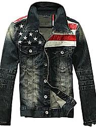 cheap -men's american flag denim jacket slim fit motorcycle long sleeve outwear blue (us medium)