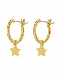 cheap -14k gold plated charm hoop earrings - dangle earrings - shiny star drop earrings - small hoops (shiny gold stars)