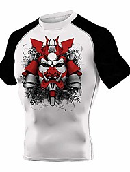 cheap -performance yoga shirt men's mask samurai vented short sleeve sun protection quick dry rash guard,black,x-large