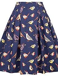 cheap -women's  50's retro skirt tea length midi skirt pleated flare skirt pockets