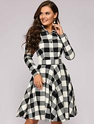 cheap -Women's A-Line Dress Knee Length Dress - Long Sleeve Check Spring Fall Shirt Collar Plus Size Casual 2020 White Red S M L XL XXL
