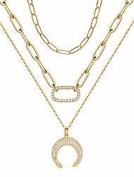 cheap -turandoss layered paperclip chain necklace for women, 14k gold plated dainty crescent moon pendant adjustable link chain necklace oval choker paperclip chain necklaces for women ideal gifts