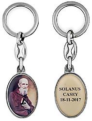 cheap -solanus casey oval key chain (silver)