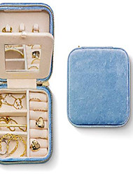 cheap -plush velvet jewelry box | travel jewelry box | jewelry storage and organizer | jewelry box for women | rings, necklaces and earrings organizer with mirror - periwinkle blue