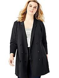 cheap -women's plus size long satin blazer double breasted tuxedo style jacket - 16 w, black
