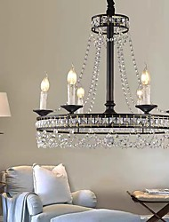 cheap -60cm Crystal Chandelier Candle Desgin Vintage Style Tricolor Light Metal Painted Finishes Modern Christmas Decoration 110-120V 220-240V