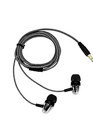 cheap -unique 3.5mm in-ear headset wired earphone stereo connector braid rope headphone high performance easy to use silver