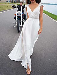 cheap -A-Line Wedding Dresses V Neck Court Train Chiffon Sleeveless Beach with Ruffles Split Front 2020