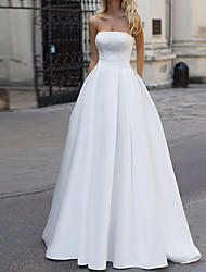 cheap -A-Line Wedding Dresses Strapless Court Train Satin Half Sleeve Sleeveless Simple with Beading 2021