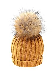 cheap -women's knitted skull cap cable knit faux fur pom hat one-size fits all female cap,yellow