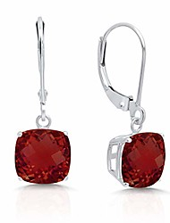 cheap -14k white gold garnet dangle leverback earrings (8mm)