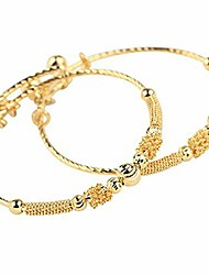 cheap -24k yellow gold plated baby's bracelet adjustable children's bangle(2pcs/lot)