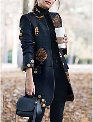 cheap -Women's Print Active Fall & Winter Trench Coat Long Holiday Long Sleeve Cotton Blend Coat Tops Navy Blue