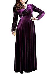 cheap -Women's Prom Dress elegant v-neck long sleeve high waist flared maxi velvet dress (small, purple)