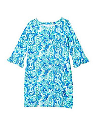 cheap -kids girl's upf 50+ mini sophie ruffle dress (toddler/little kids/big kids) seaglass aqua seeing double lg (8-10 big kids)