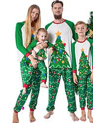 cheap -Family Look Graphic Print Long Sleeve Regular Regular Clothing Set Green