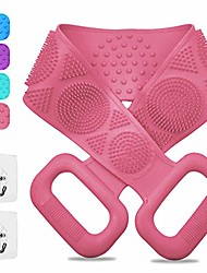 cheap -silicone back scrubber for shower with handle long double sided bath body brushes soft exfoliating rub back for women and men use in shower, cleaning massage spa for all kinds of skin (pink)
