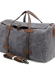cheap -vintage waxed leather canvas travel bag  ? extra large man capacity holdall, travel duffle, carry-on baggage, gym bag with adjustable and detachable shoulder strap - xl gray