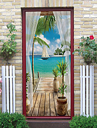 cheap -Self-adhesive Creative Sea View Door Stickers For Living Room DIY Decorative Home Waterproof Wall Stickers