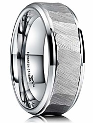 cheap -hammer 8mm mens tungsten carbide ring hammered brushed finish beveled edge wedding band comfort fit 7.5