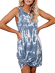 cheap -women's tie-dye print swimsuit beach cover ups sleeveless casual t shirt sundress tank dress (x-large,gray)